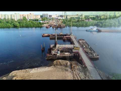 Строительство моста в Дубне через Волгу. Разрешение 4К. Июнь 2017. Съемка DJI Phantom 4PRO