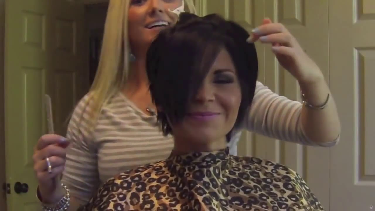 Haircut To A Beautiful Brunette Pixie Youtube
