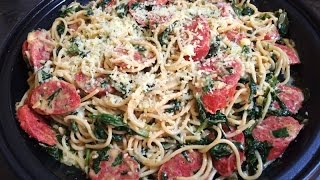 Spaghetti with Italian Sausage and Spinach, easy delicious recipe!