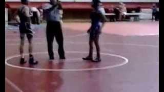 <b>Girl pins boy</b> in <b>wrestling</b>!