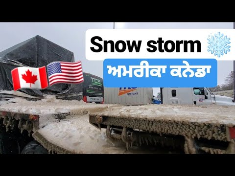 Punjabi Trucker VS Snow. CANADA USA DRIVER. VLOG 7
