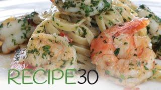 Garlic Linguine Pasta with Shrimp (Prawns) - By RECIPE30.com