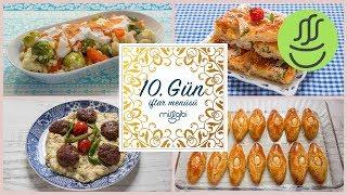 Ramazan 10. Gün İftar Menüsü:  Beğendili Köfte - Pileli Börek - Badempare Tatlısı - Havuç Salatası