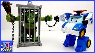 POLI locks a monster up.Robocar POLI Friends & Troll Playmobil Toy for kids [JJtoy TV]