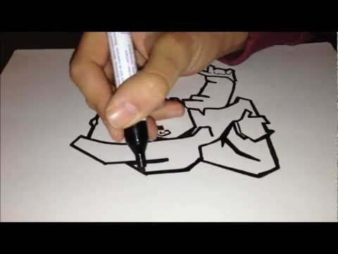 How To Draw Graffiti Character Gangster Black White Youtube