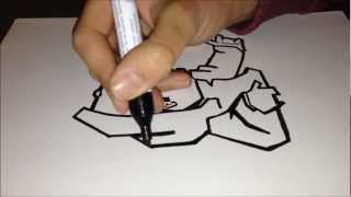 How to draw graffiti character - Gangster Black & White