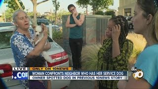Woman confronts neighbor who has her service dog