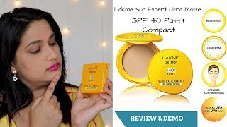 Lakme Sun Expert Ultra Matte SPF 40 Pa+++ Compact Review & Demo