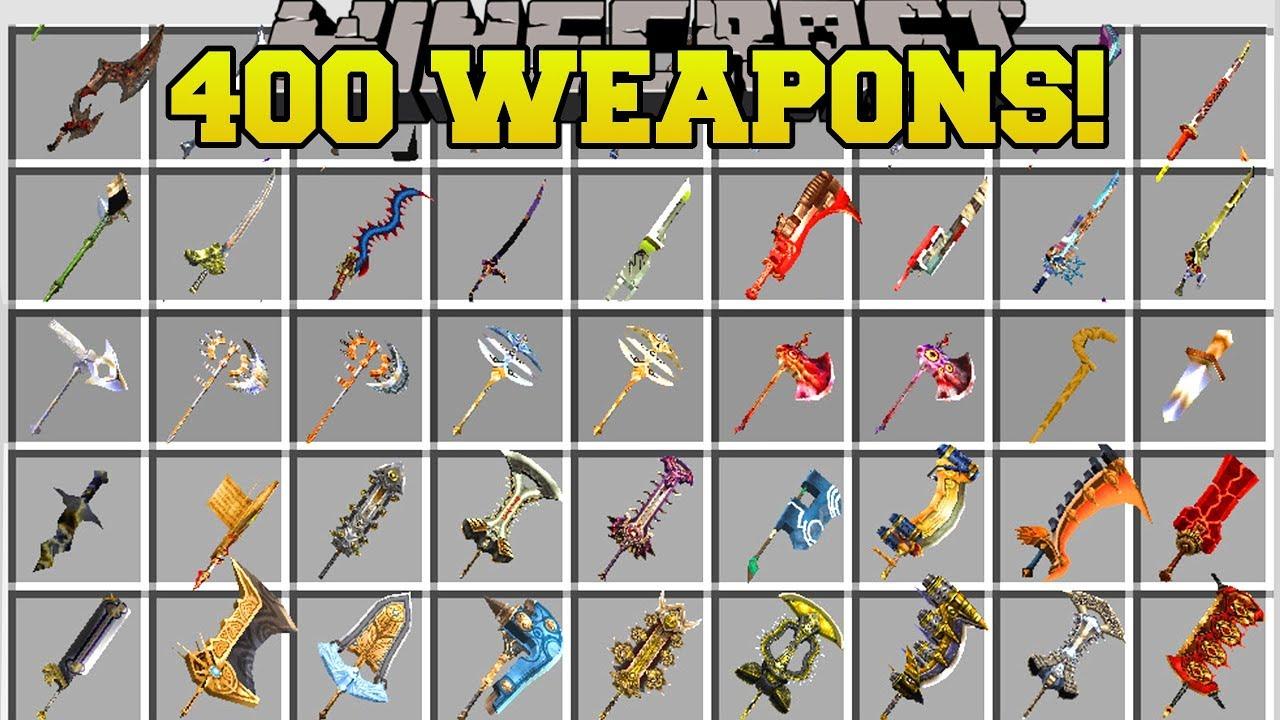 Minecraft: 400  NEW WEAPONS (BIGGEST WEAPON MOD IN MINECRAFT