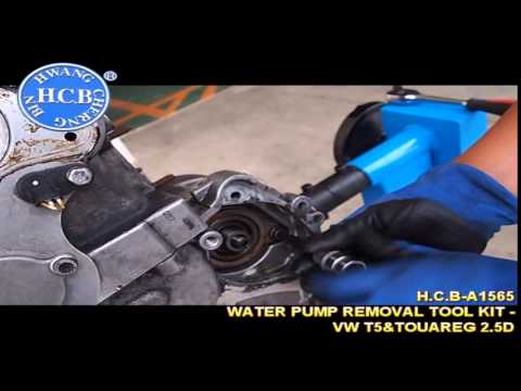 h c b a1565 water pump removal tool kit vw t5 touareg 2 5d youtube. Black Bedroom Furniture Sets. Home Design Ideas