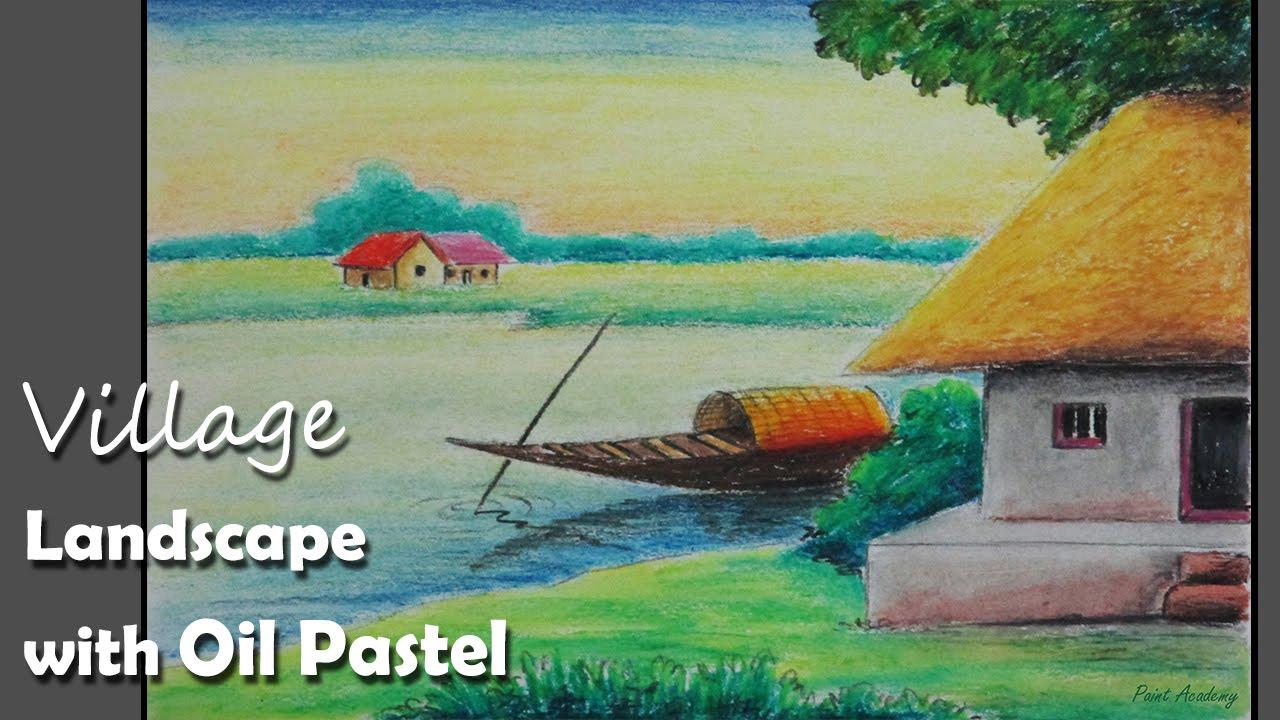 Beginners Oil Pastel Village Landscape Painting Tutorial