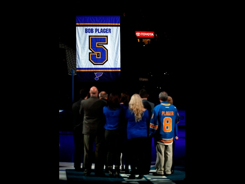 """Bobby Plager speaks as Blues retire his No. 5: """"I bleed Blue"""""""