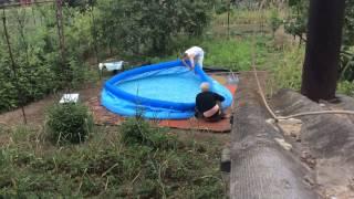 Установка надувного бассейна intex easy set 366x91 на огороде !(, 2015-06-19T17:10:36.000Z)