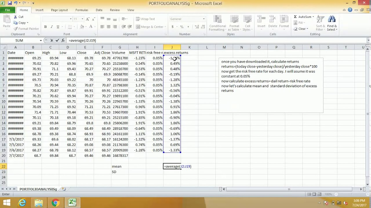 how to calculate sharpe ratio using excel