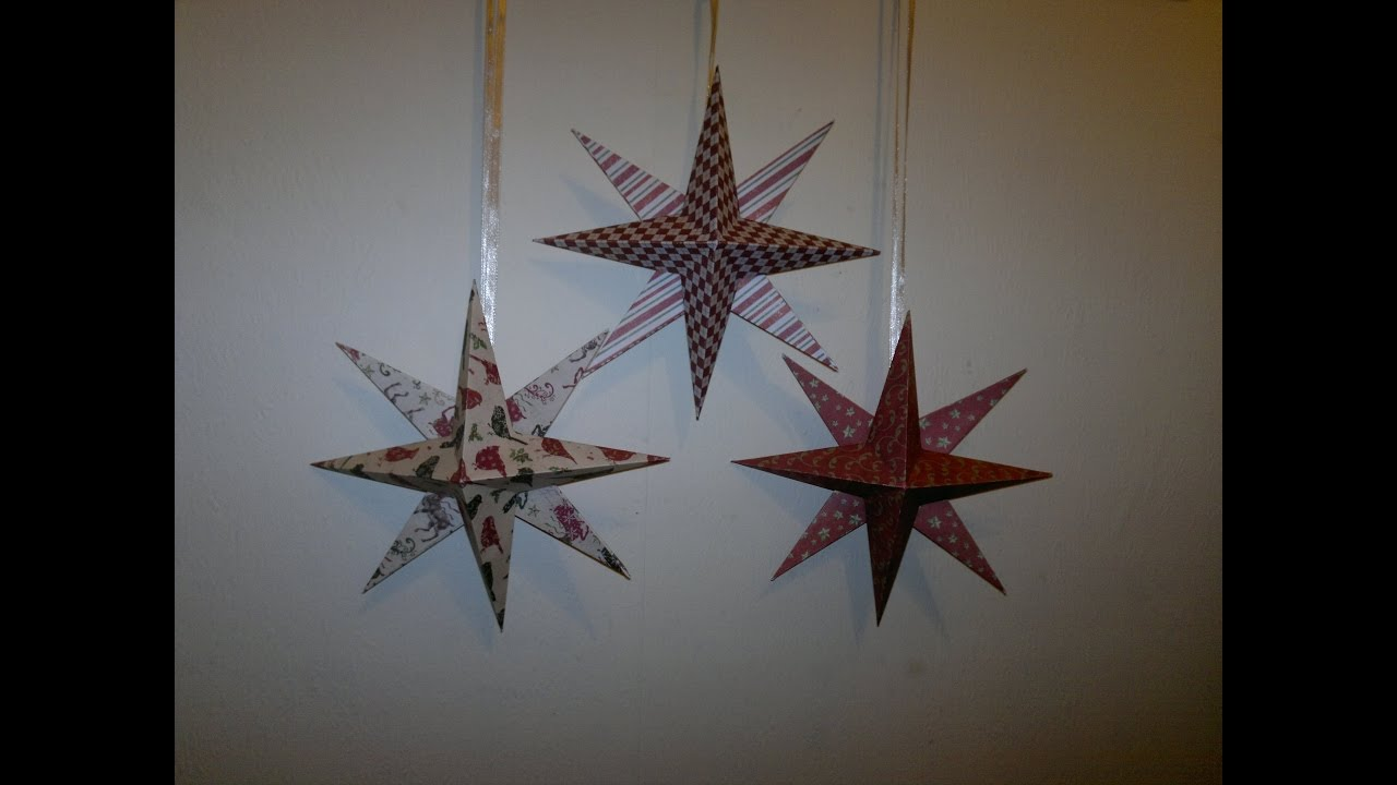 Lav 8 takket 3D julestjerne i papir