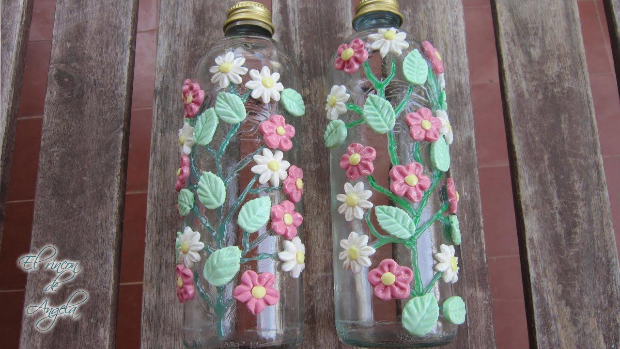 Como decorar botellas de cristal con porcelana fria for Ideas para decorar botellas
