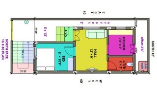 16 × 40 North face house plan