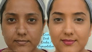 How to Cover Dark circles, Acne and Pigmentation | For Indian/tan/olive/Brown skin tone | Perkymegs