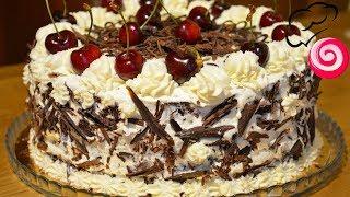 Шоколадный торт с вишней 🍒 и взбитыми сливками