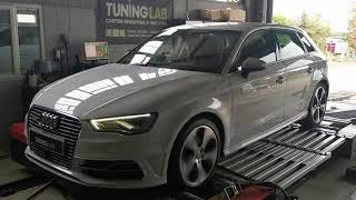 Audi A3 E-tron 1.4tsi hybrid in for stage 1 custom rolling road dyno tuning mega results! Dyno graph