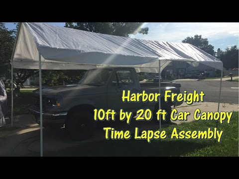 Harbor Freight 10 ft by 20 ft Car Canopy Time Lapse Assembly by @GettinJunkDone