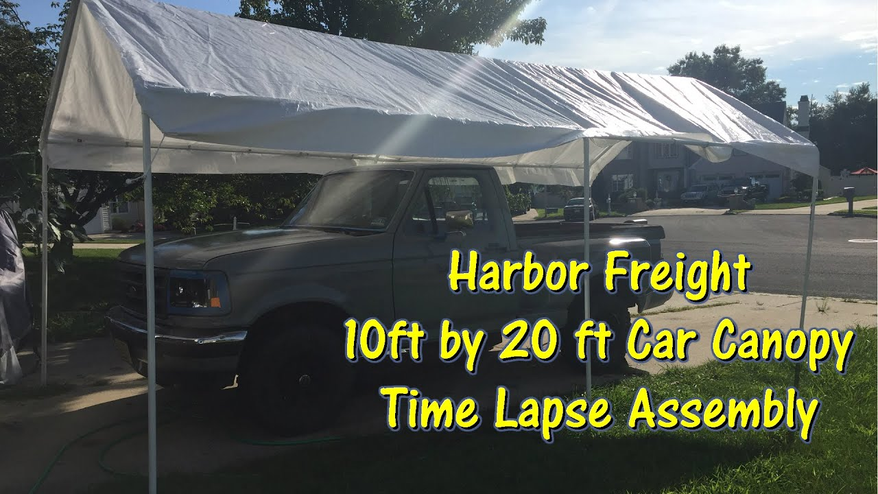 Harbor Freight 10 ft by 20 ft Car Canopy Time Lapse Assembly by @GettinJunkDone - YouTube : harbor freight 10 x 20 canopy - memphite.com