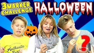 Wer malt die HORROR TRUHE zu Halloween? 3 Marker Challenge 😁 TipTapTube Family 👨👩👦👦