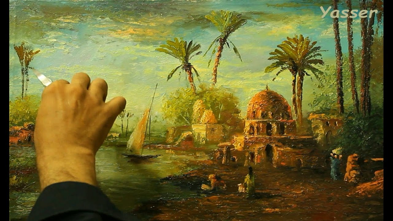 Palette knife oil painting countryside from egypt by for Egyptian fresco mural painting