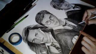 Drawing Harry Potter , Ron Weasley, Hermione Granger