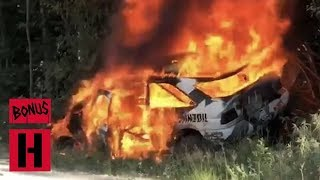 FIRE!!! Ken Block's Racecar Burns to a Crisp - RAW In-Car Roll and Fire