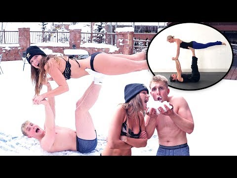 UNDERWEAR YOGA CHALLENGE IN THE SNOW!! (JERIKA EDITION)