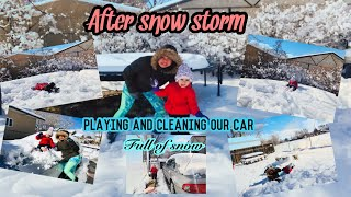 AFTER SNOW STORM PLAYING IN THE BACKYARD AND CLEANING OUR CAR FULL OF SNOW/MY PRINCESS VLOG