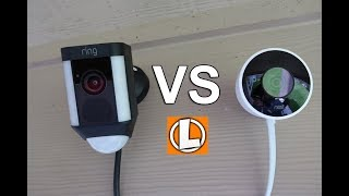 Nest Outdoor Cam vs  Ring Spotlight Camera - WiFi Security Cameras Comparison