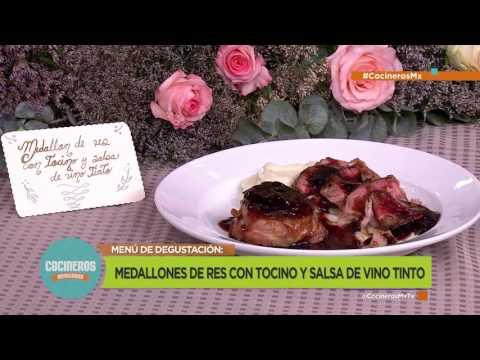 Receta: Medallones de res con tocino y salsa de vino tinto | Cocineros Mexicanos