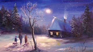 """Видео урок """"Как нарисовать пейзаж новогодняя ночь"""""""