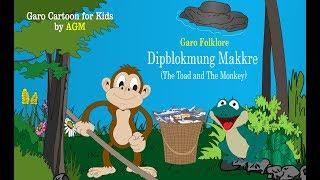 Garo de dibujos animados-Dipblokmung Makkre (El Sapo y El Mono)