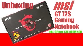 MSI Gaming Notebook GT72S 6QE DOMINATOR PRO Unboxing MSI Notebook Deutsch