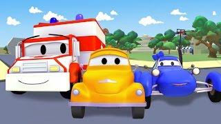 Эвакуатор Том и Такси, Вертолет, Синяя гоночная машина, Кран, Бульдозер | мультик для детей 🚚🏎️🚑