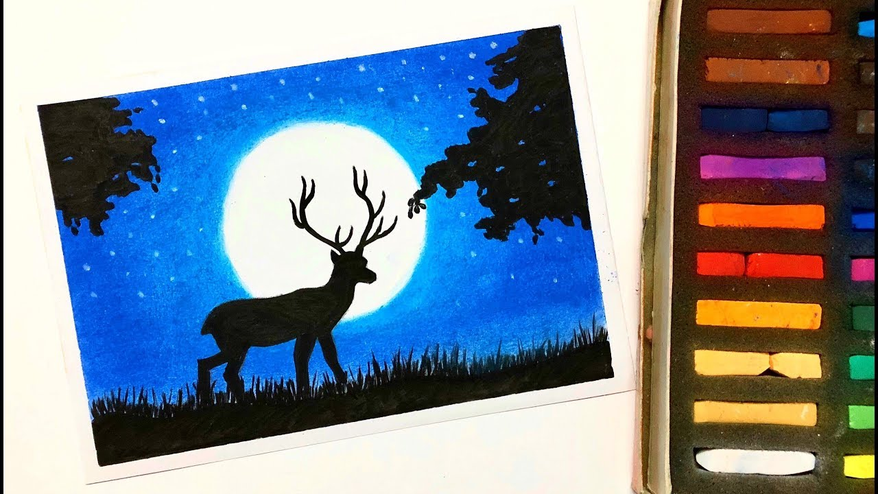 Easy Deer Moonlight Scenery Drawing For Beginners With Soft Pastels