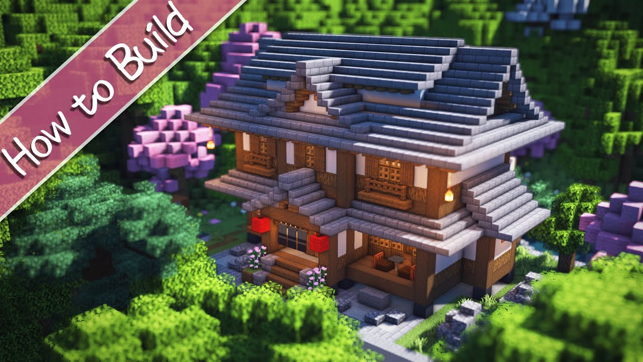 Oshacra Part71 How To Build Traditional Japanese Inn ÁŠã—ゃクラ Ɨ…館の作り方 Minecraft Youtube