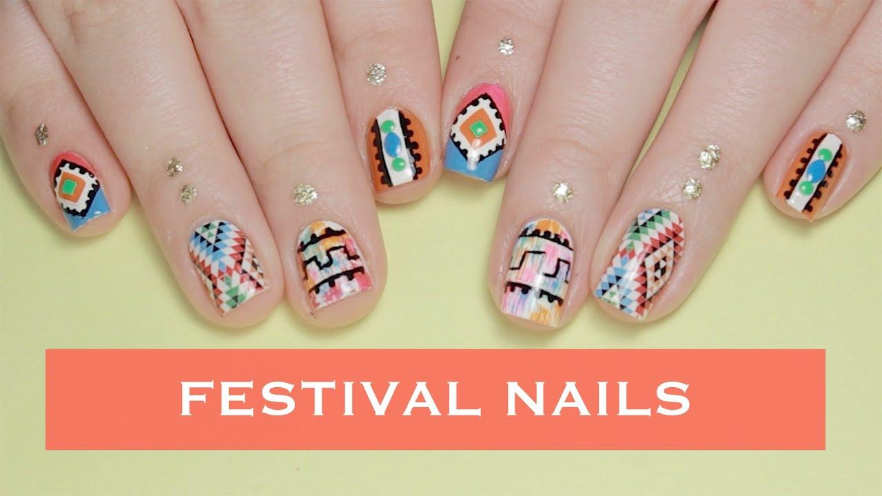 Coachella Nails Music Festival Nail Art Youtube