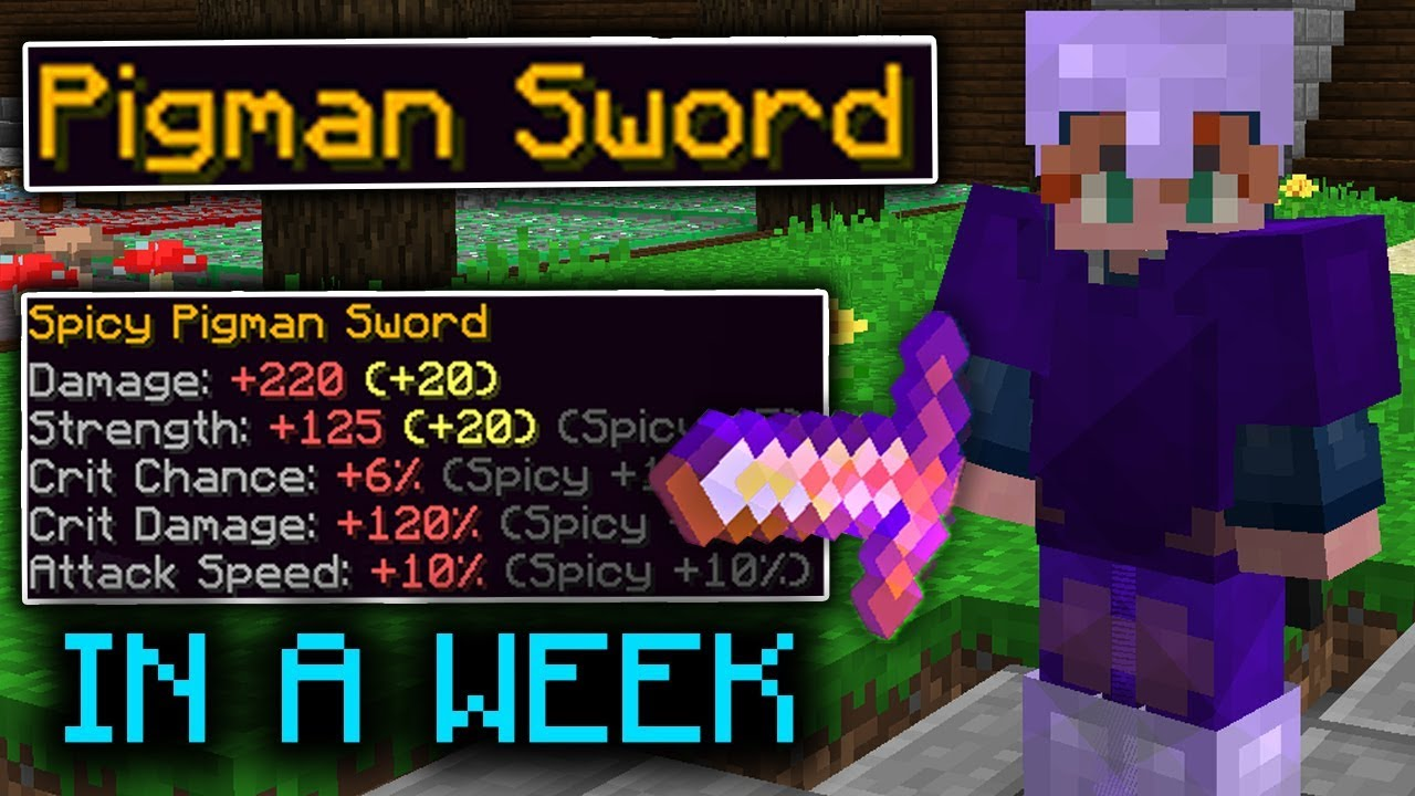 How I Unlocked The Pigman Sword In A Week Hypixel Skyblock Youtube