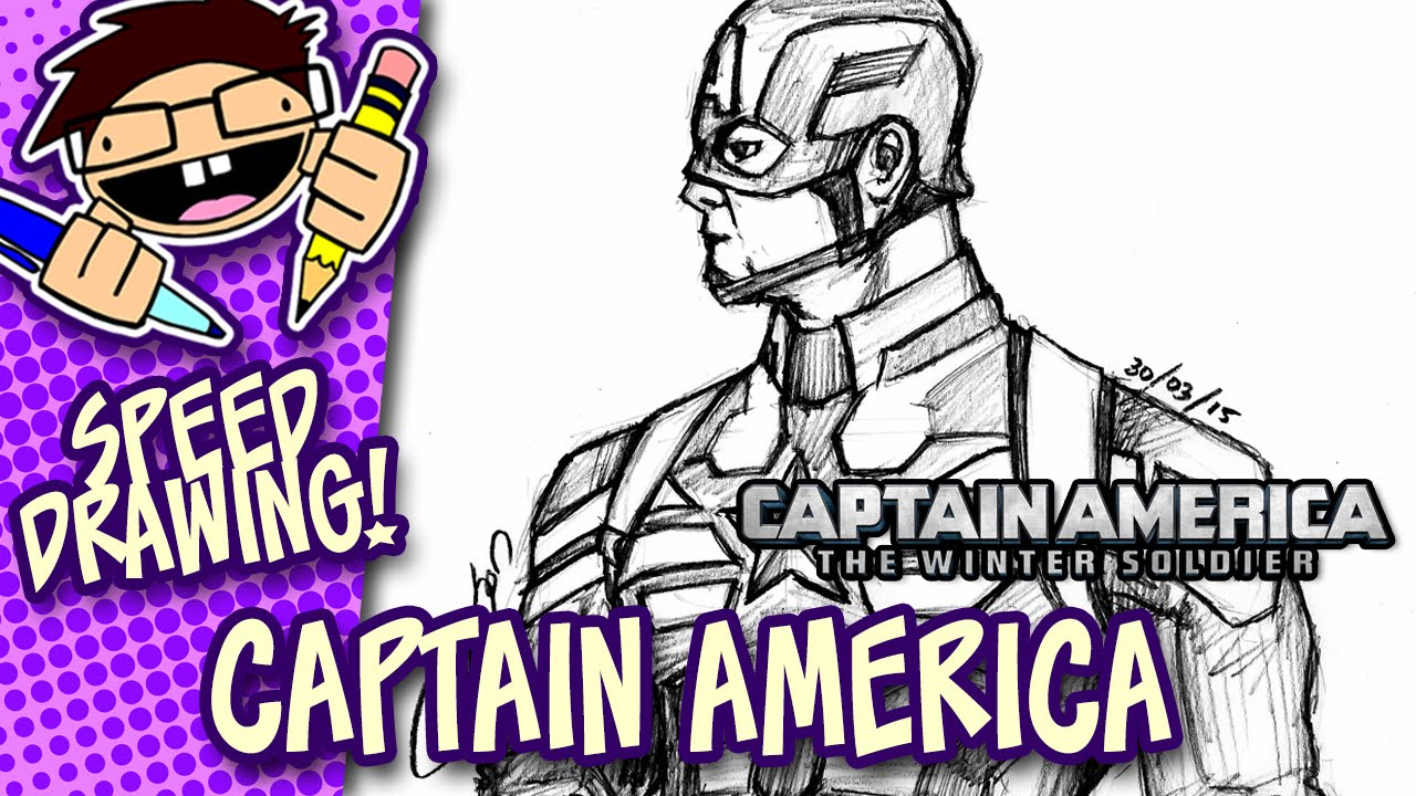 Delightful Speed Drawing CAPTAIN AMERICA (CAPTAIN AMERICA: THE WINTER SOLDIER)    YouTube