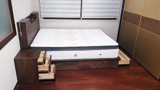 수납형 LED 침대 월넛 프레임 퀸 사이즈 레아 매트리…