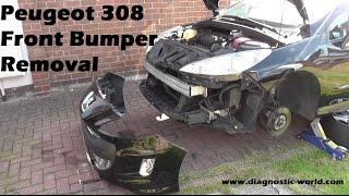 как снять передний бампер Пежо-308/Peugeot-308 -Часть  2