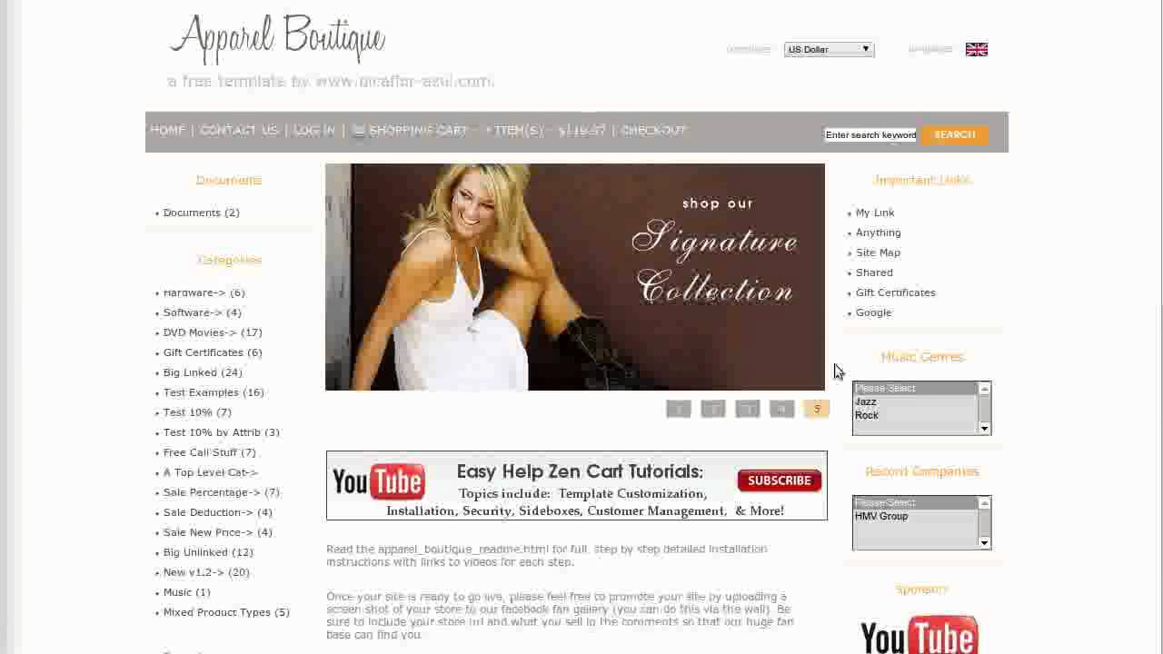 Easy Help Zen Cart Virtual Tour: Apparel Boutique Free Template