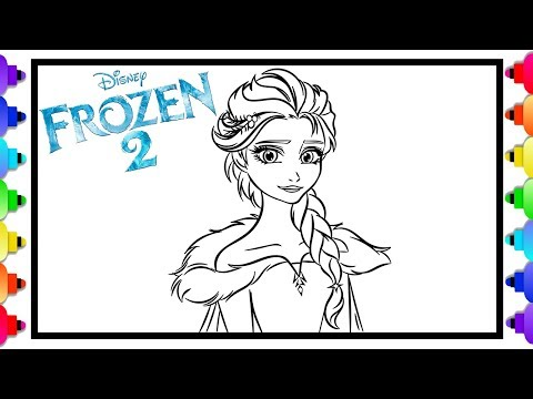 how-to-draw-elsa-from-disney's-frozen-2-❄💙❄-frozen-2-coloring-pages-for-kids-💙-glitter-art
