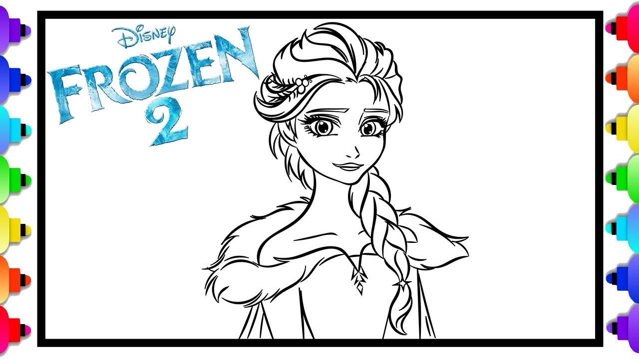 How to draw elsa from disneys frozen 2 ❄💙❄ frozen 2 coloring pages for kids 💙 glitter art