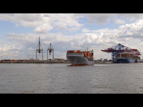 Hamburg, Germany: Waltershof, Harbor, container ship maneuvering - 4K UHD Video Image