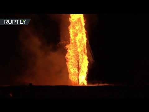 World's tallest bonfire lit on fire in Austria